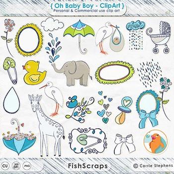 Baby Boy ClipArt, Ducky, Stork Baby Shower Clip Art