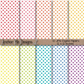 Baby Bright Polka Dot Digital Papers on a White Background