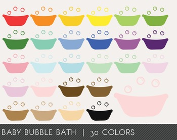 Baby Bubble Bath Digital Clipart, Baby Bubble Bath Graphics