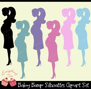 Baby Bump Silhouettes Clipart Set