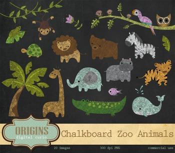 Baby Chalkboard Zoo Animals Clipart