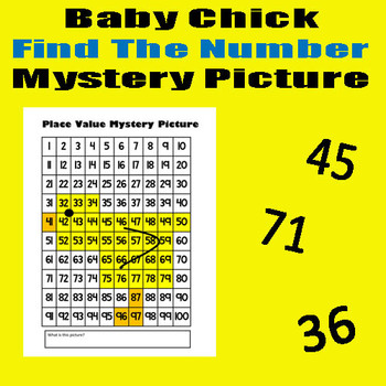 Baby Chick Find The Number Sheet - 8.5x11 - Easter / Spring