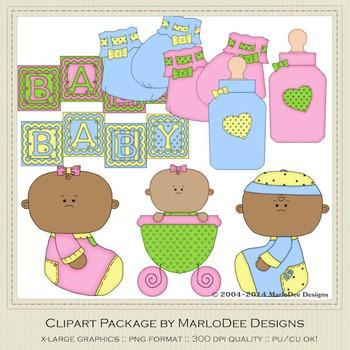 Baby 1 Clip Art Set 2 African American Babies