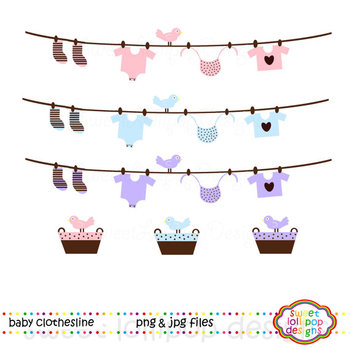 Baby Clothesline Clip Art or Clipart
