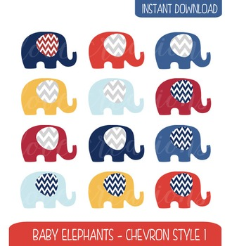 Baby Elephant Clip Art Chevron Style - Navy, Red, Yellow,