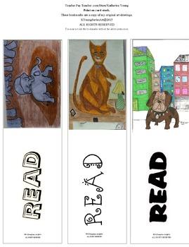 Baby Elephants - Cat - Bull Dog (Bookmarks)