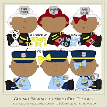 Baby Fire & Police Clip Art Graphics Set 2 African America