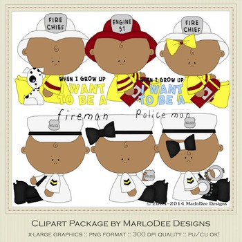 Baby Fire & Police Clip Art Graphics Set 4 African America