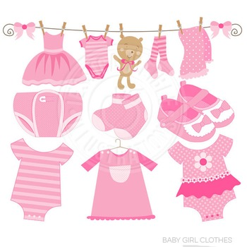 Baby Girl Clothes Cute Digital Clipart, Baby Girl Graphics