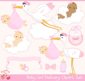 Baby Girl Stork Delivery Clipart Set