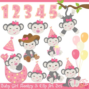 Baby Girl Gray Monkey Clip Art Set
