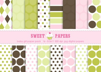 Baby Girl Pink Chartreuse Brown Polkadot Digital Paper Pac