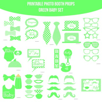 Baby Green Printable Photo Booth Prop Set