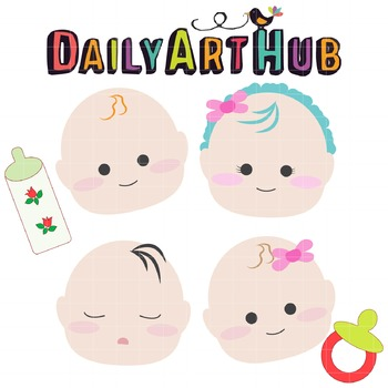 Baby Heads Clip Art - Great for Art Class Projects!