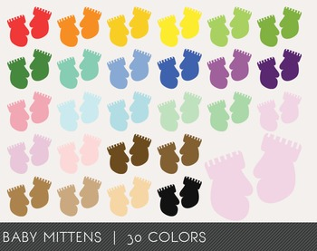 Baby Mittens Digital Clipart, Baby Mittens Graphics, Baby