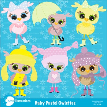 Owl Clipart, Baby Owl Clipart, Pastel Owls CLip Art AMB-363