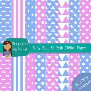 Baby Pink & Baby Blue Digital Paper 16 JPEG Images {Person