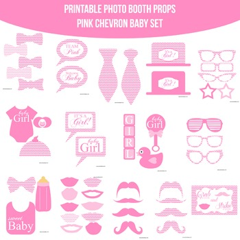 Baby Pink Chevron Printable Photo Booth Prop Set
