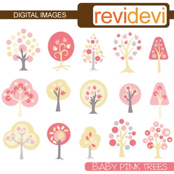 Baby Pink Trees Clip art