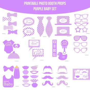 Baby Purple Printable Photo Booth Prop Set