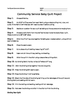 Baby Quilt Community Service Project