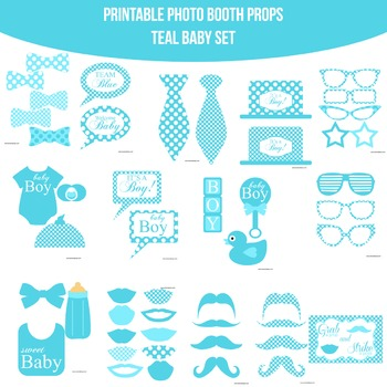 Baby Teal Printable Photo Booth Prop Set