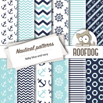 Baby blue and navy nautical themed digital papers