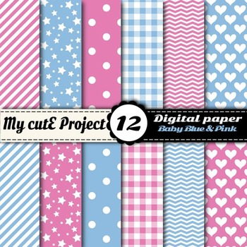 Baby blue and pink - DIGITAL PAPER - Scrapbooking - A4 & 1