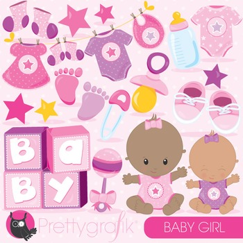 Baby girl clipart commercial use, vector graphics, digital