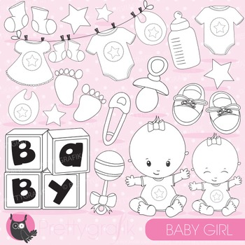 Baby girl stamps commercial use, vector graphics, images - DS828