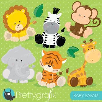 Baby safari animals clipart commercial use, vector graphic