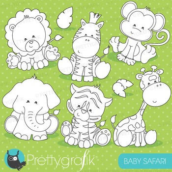 Baby safari stamps commercial use, vector graphics, images