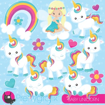 Baby unicorn clipart commercial use, vector graphics, digi