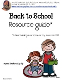 Back to School Resource Guide products for speech,special