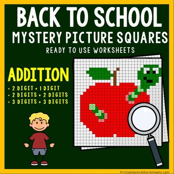 Back To School Addition Coloring Worksheets