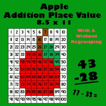 Back To School Apple Addition Math Mystery Picture - 8.5x1