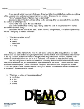 Back To School - Augmented 3rd Grade English Worksheet - P