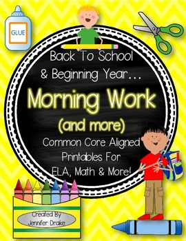 Back To School & Beginning Year Morning Work & More!  PreK