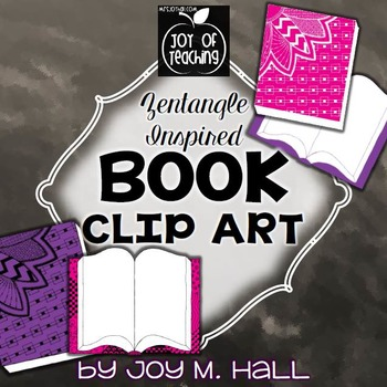 Back To School Book Hand Drawn Clip Art - Zentangle Inspired