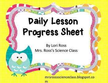 Back To School Daily Lesson Progress Sheet