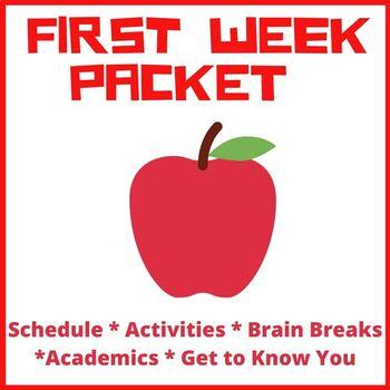 First Week of School, Back to School Packet Grade 3-5