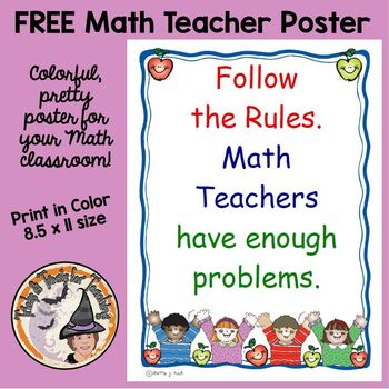 Back To School FREE Follow the Rules Math Teachers Have En