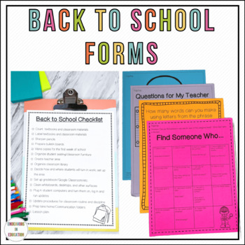 Back To School Forms and Activities (Editable)