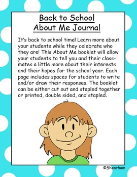 Back To School Grade 1 About Me Booklet