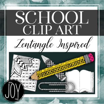 Back To School Hand Drawn Clip Art BUNDLE - Zentangle Inspired