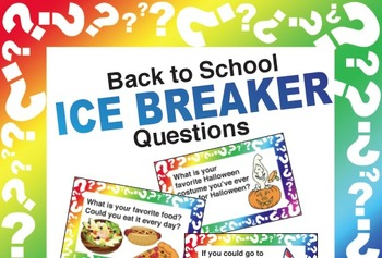 Back To School Ice Breaker Game: Question Cards