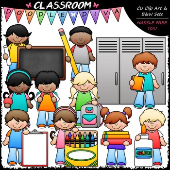 Back To School Kids Clip Art - School Supplies Kids Clip A