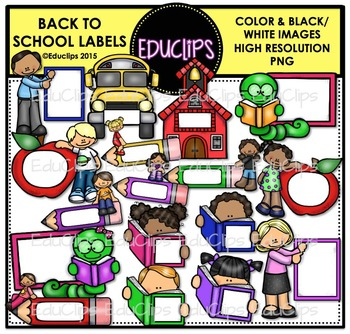 Back To School Labels Clip Art Bundle