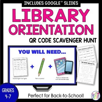 Back To School Library Orientation Scavenger Hunt with Sec