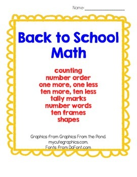 Back To School Math: Counting, Number Order, &More- Printa